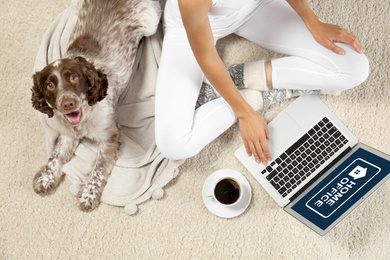 Young woman with laptop and her dog on light carpet, top view. Home office