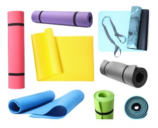 Set with colorful camping mats on white background