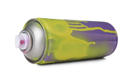 Used can of spray paint isolated on white. Graffiti supply