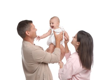 Portrait of happy family with their cute baby on white background