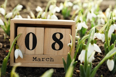 Wooden block calendar with date 8th of March among beautiful snowdrops outdoors. International Women's Day