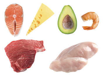 Set with food rich in protein on white background