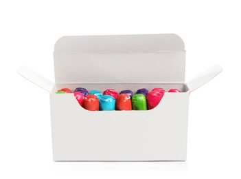 Box of tampons isolated on white. Menstrual hygienic product