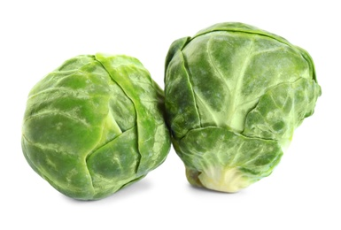 Fresh tasty Brussels sprouts isolated on white