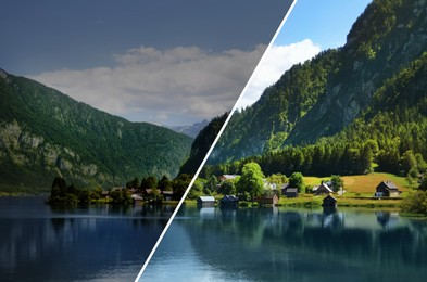 Photo before and after retouch, collage. Beautiful landscape with mountains and river on sunny day
