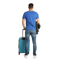Handsome man with suitcase for summer trip on white background, back view. Vacation travel