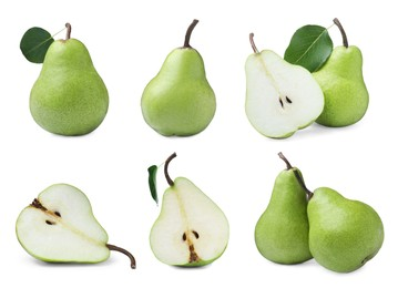 Set with tasty ripe pears on white background