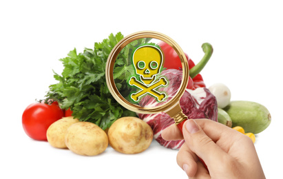 Woman with magnifying glass detecting microbes on white background, closeup. Food poisoning concept