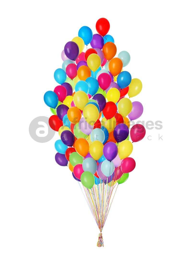 Big bunch of bright balloons on white background