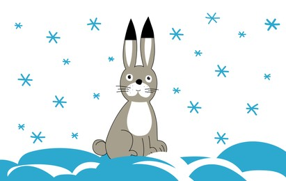 Drawing of cute little bunny on snow. Child art
