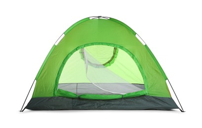 Bright green camping tent on white background