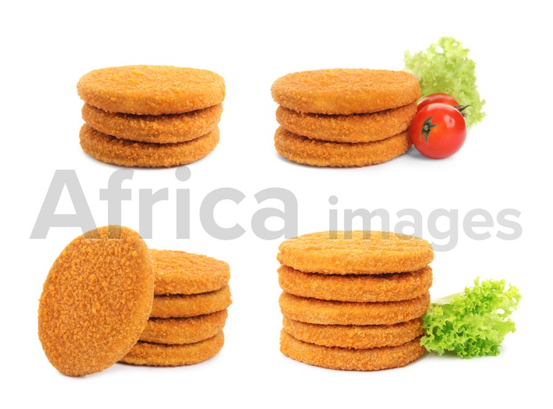 Set with tasty breaded cutlets on white background