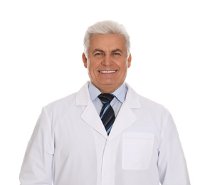 Happy senior man in lab coat on white background