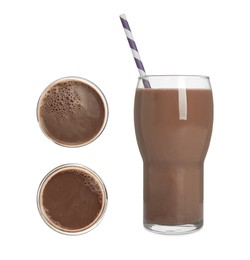 Delicious chocolate milk on white background, collage