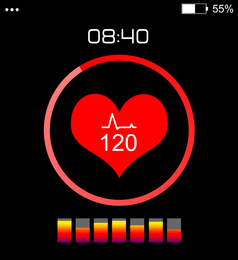 Smart watch displaying heart rate in health monitor app