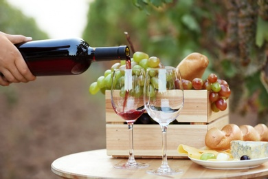 Woman pouring red wine into glass on table in vineyard