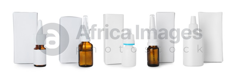 Set with nasal sprays and packs on white background. Banner design