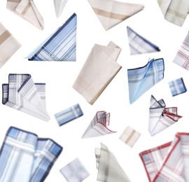 Many different handkerchiefs falling on white background