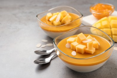 Delicious panna cotta with mango coulis and fresh fruit pieces on grey table. Space for text
