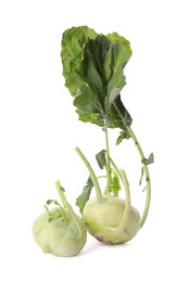 Whole ripe kohlrabies with leaves on white background