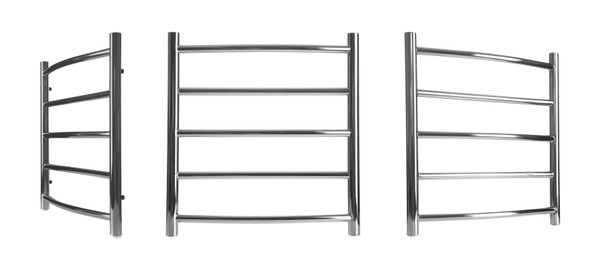 Set with modern heated towel rails on white background. Banner design
