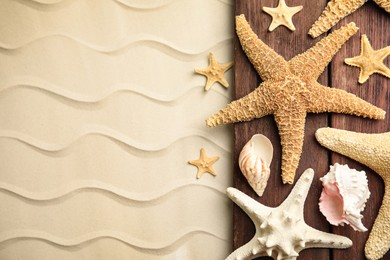 Beautiful sea stars and shells on sand, flat lay. Space for text