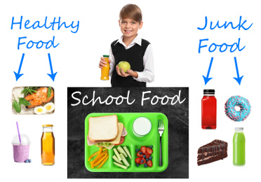 Schoolboy and different products as variants for lunch. Healthy and junk food