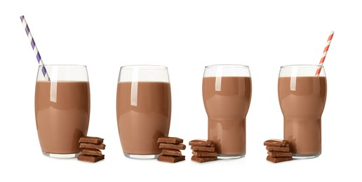 Set with delicious chocolate milk on white background. Banner design