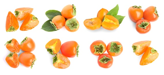 Set of delicious fresh ripe persimmons on white background, top view. Banner design