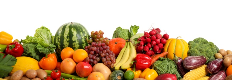 Assortment of fresh organic fruits and vegetables on white background. Banner design