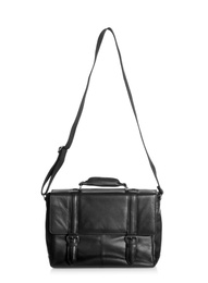 Black male leather briefcase with strap on white background
