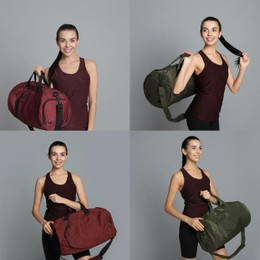 Young woman with sports bag on grey background, collage