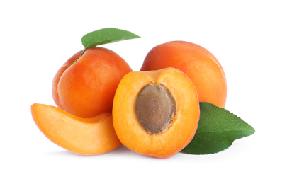 Delicious fresh ripe apricots on white background
