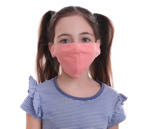 Girl wearing protective mask on white background. Child's safety from virus