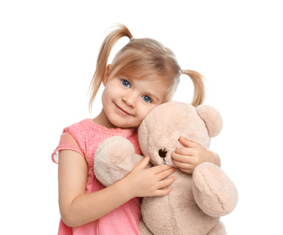 Cute little girl with teddy bear on white background