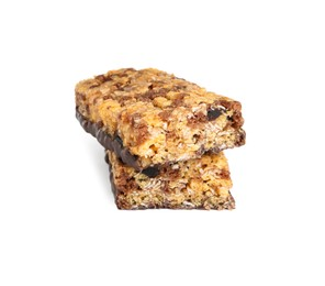 Halves of tasty protein bar with granola on white background