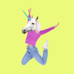 Modern art collage. Woman with unicorn's head on yellow background