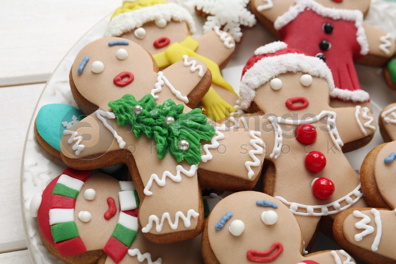 Delicious Christmas cookies on white table, closeup