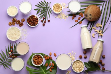 Frame of different organic vegan milks and ingredients on violet background, flat lay. Space for text