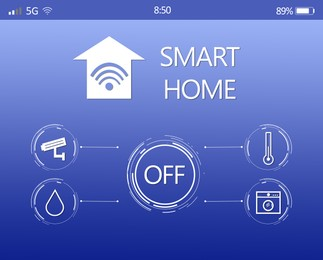Smart home application for mobile phone, illustration. Automatic technology