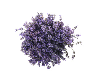 Beautiful lavender bouquet isolated on white, top view