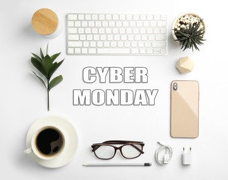 Cyber Monday Sale. Composition with computer keyboard on white background, flat lay