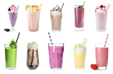 Set of glasses with different protein shakes on white background