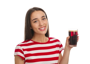 Beautiful woman with cold kvass on white background. Traditional Russian summer drink