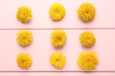 Flat lay composition with beautiful yellow dandelions on pink wooden table