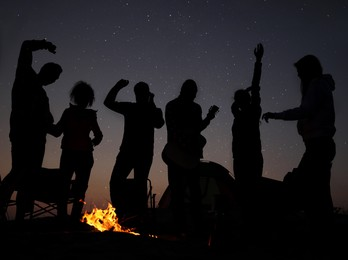 Group of friends having party near bonfire in evening. Camping season