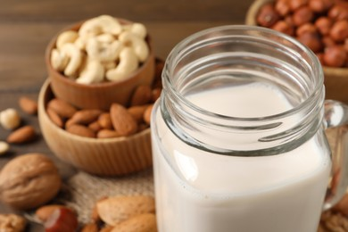 Vegan milk and different nuts on table, closeup
