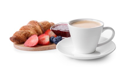 Tasty croissant, cup of coffee, fruits and jam on white background