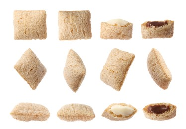 Set with sweet crispy corn pads on white background