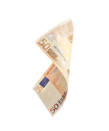 Euro banknote isolated on white. Flying money